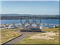 SY6873 : Olympic Rings Overlooking Portland Harbour and Weymouth Bay by David Dixon