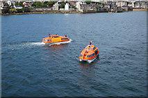 HU4841 : Tender boats in Bressay Sound, Lerwick by Ian S