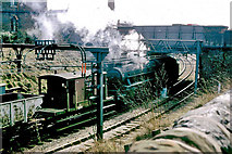 SJ9297 : Freight train starting off towards Guide Bridge, 1968 by Robin Webster