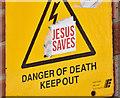 "J3474 : ""Jesus Saves"" sticker, Belfast (July 2017) by Albert Bridge"