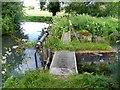 SP1504 : Sluice on the River Coln at Quenington by Oliver Dixon