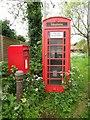 SU6995 : K6 Telephone Box and Post Box in Shirburn by David Hillas