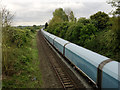 SP3363 : A very long freight train, Upper Sydenham, Royal Leamington Spa by Robin Stott