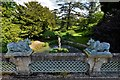 SP1731 : Sezincote Garden: Ornamental bulls on the Indian Bridge by Michael Garlick