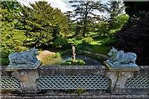 SP1731 : Sezincote Garden: Ornamental bulls on the Indian Bridge by Michael Garlick