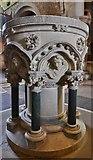 SO7137 : Ledbury, St. Michael and All Angels Church: The 1850 Sir George Gilbert Scott stone  font 1 by Michael Garlick