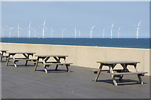 NZ6025 : Cafe tables - Redcar seafront by Stephen McKay