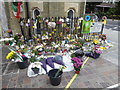 TQ2481 : Flowers and candles outside Notting Hill Methodist Church by Marathon