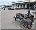 SU4519 : Seated statue on a bench outside Eastleigh railway station by Jaggery