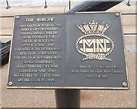 NZ6025 : Plaques on Anchor memorial to Merchant seamen - Esplanade by Betty Longbottom