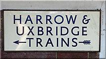 TQ1684 : Sudbury Town tube station - sign by Mike Quinn