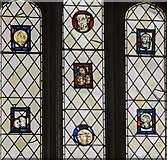 SX9292 : Medieval stained glass detail, Exeter Cathedral by Julian P Guffogg