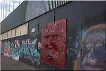 J3274 : Art work on the peace line, Cupar Way, Belfast by Robert Eva