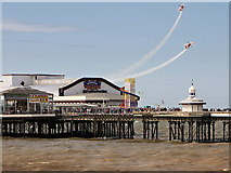 SD3036 : Blackpool Airshow, Breitling Wingwalkers over North Pier by David Dixon