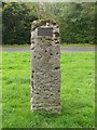 NZ1785 : Standing stone with plaque, Mitofrd by Graham Robson