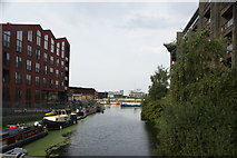 TQ3784 : View along the Hertford Union Canal to the confluence with the River Lea from the footbridge leading to Fish Island by Robert Lamb