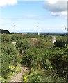 J4976 : Modern wind turbines bordering on the Whitespots Lead Mine site by Eric Jones