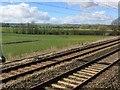 SU3890 : View from a Reading-Swindon train - Fields near Denchworth by Nigel Thompson
