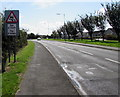 SM9107 : Warning sign - skid risk for 2 miles, Steynton Road, Milford Haven by Jaggery