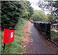 SO1610 : Dog waste bin alongside a riverside path, Ebbw Vale by Jaggery