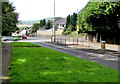 ST0483 : Keep Left sign and pedestrian refuge, Talbot Road, Llantrisant by Jaggery