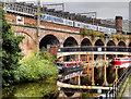 SJ8297 : Bridgewater Canal, Slate Wharf Bridge and Castlefield Viaduct by David Dixon