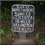 SP6989 : Distance sign, Foxton Junction by Ian Taylor