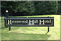 TL8963 : Ravenwood Hall Hotel sign by Adrian Cable
