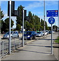 ST1675 : Ninian Park railway station direction sign, Leckwith, Cardiff by Jaggery