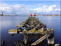 NT2677 : Disused pier, Western Harbour, Port of Leith by Roy Smart