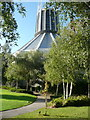SJ3590 : The garden of the Roman Catholic Cathedral, Liverpool by Humphrey Bolton
