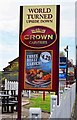 SU7170 : World Turned Upside Down (2) - sign, 387 Basingstoke Road, Reading by P L Chadwick