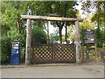 TQ3896 : The Don Potter gates at Gilwell Park by Marathon