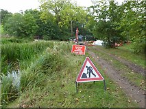 SO8843 : Roadworks on a footpath by Philip Halling