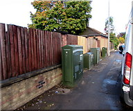 ST1775 : Four telecoms cabinets, Sloper Road, Cardiff by Jaggery