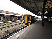 SO8555 : Weymouth train at Worcester Shrub Hill station by Jaggery