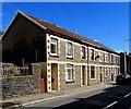SS9892 : Row of four stone houses, Clydach Road, Clydach Vale by Jaggery