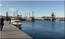 SY6874 : Three boat lifting bays, Portland Marina by Robin Stott