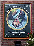 SJ9214 : The Boat Inn (pub sign) at Penkridge, Staffordshire by Roger  Kidd