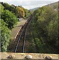 ST0091 : Rhondda Line railway through Dinas Rhondda station by Jaggery