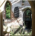 TG2504 : The church of St Wandregesilius - remains of the war memorial by Evelyn Simak