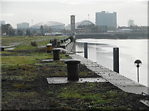 NS5565 : Bollards beside the Clyde by Richard Sutcliffe