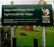 ST3091 : Bilingual school name sign facing Wavell Drive, Malpas, Newport by Jaggery