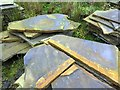 NY9554 : Sandstone offcuts, Ladycross Bank Quarry by Andrew Curtis