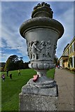 TQ1352 : Polesden Lacey: Urn sporting a child's lost boot by Michael Garlick