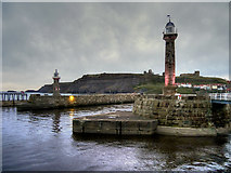 NZ8911 : Whitby Harbour Lighthouses by David Dixon