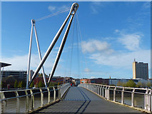 ST3188 : Newport City Footbridge from the east bank of the Usk (2017) by Robin Drayton