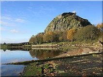 NS4074 : Dumbarton Rock seen from a disused slipway by Jonathan Thacker