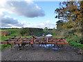 TL2241 : Blocked farm track, Edworth by Robin Webster