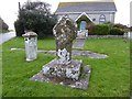 SW3927 : Celtic cross and milestone at Crows-an-wra by Philip Halling
